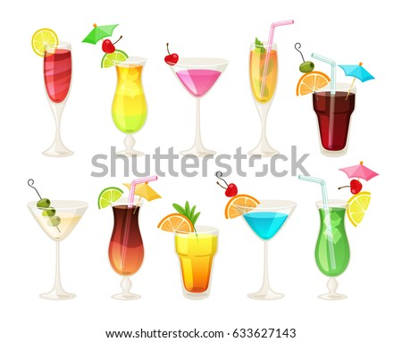 tropical cocktails and juices