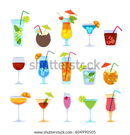 Tropical cocktails, juice, wine and champagne glass set. Vector hand drawn doodle illustration. Various isolated cocktail glass with beverages