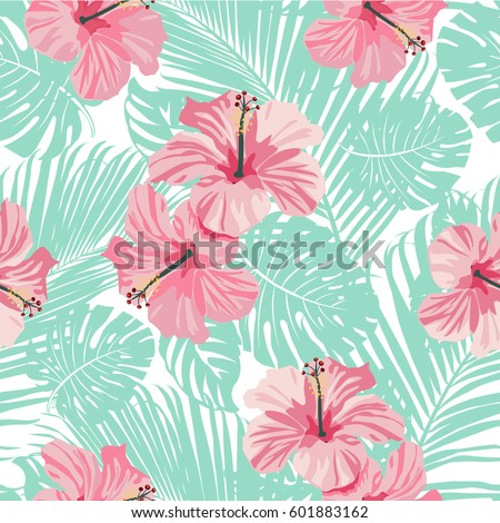 tropical coral flowers and