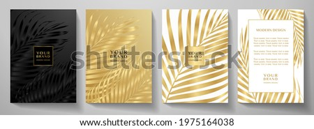 Tropical cover design set with palm branch (golden leaf) print on background. Holiday black and gold exotic pattern for vector floral wedding party card, luxury menu template, summer holiday poster