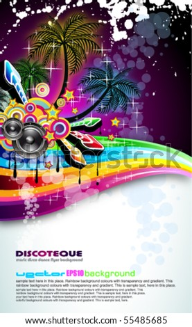 Tropical Disco Dance Background with music and fantasy design elements