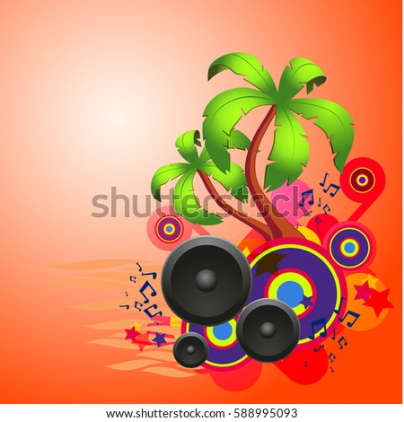 Tropical disco dance red background with music and fantasy design elements. EPS10 vector.