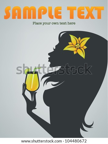 tropical drink, vector background with image of beautiful girl and cocktail