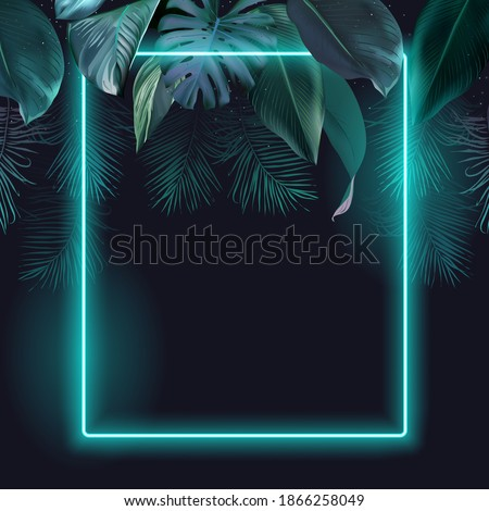 Tropical elegant frame arranged from exotic emerald leaves Design vector. Paradise plant, greenery chic card. Stylish fashion banner. Neon light template. All leaves are not cut. Isolated and editable