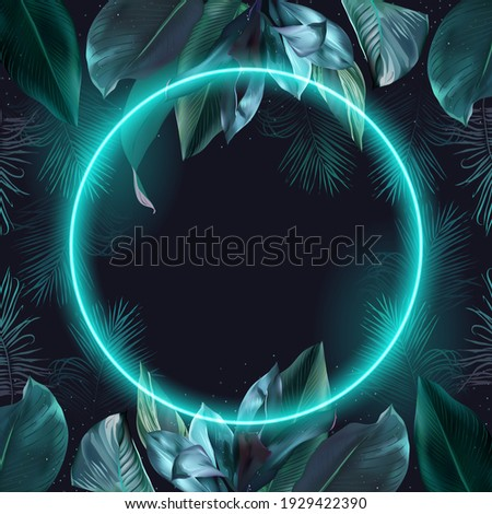 Tropical elegant frame arranged from exotic emerald leaves. Design vector. Paradise plant, greenery chic card. Stylish fashion banner. Neon light template. Round geometric frame. Isolated and editable