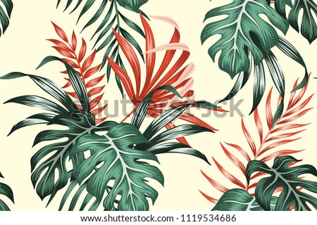 Tropical exotic floral green and red monstera palm leaves seamless pattern yellow background. Exotic jungle wallpaper.