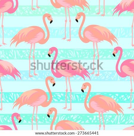 Tropical, exotic, Hawaiian pattern, seamless flamingo. Vector.