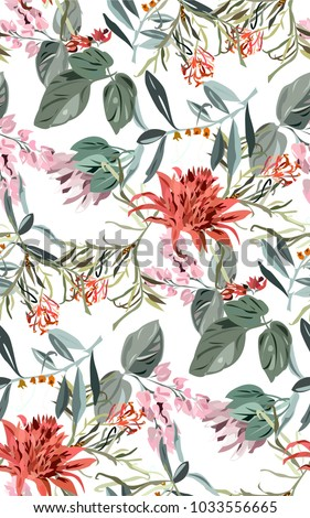 Tropical exotic pattern with beautiful flowers and leaves. Hawaii white summer pattern with tropical and exotic plants. Seamless colorful pattern with wild plants.