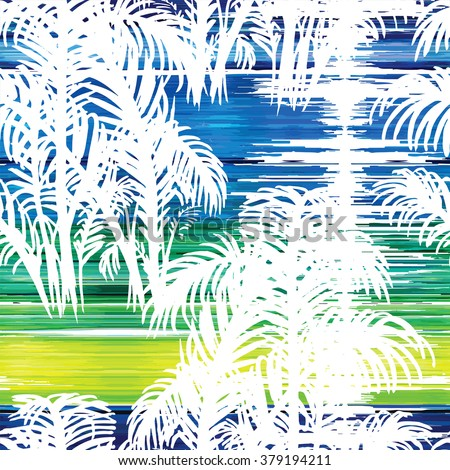 Tropical fashion seamless print with palm leaves and solar path on the sea. Jungle plant and sea. Texture mix for textile, wallpaper and background for different design.