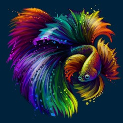Tropical fish. Abstract, neon, graphic portrait of a fighting fish on a dark blue background in watercolor style. Digital vector graphics.