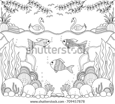 Tropical Fish Zentangle Stylized For Adult Coloring Book PageHand Drawnvector Illustration