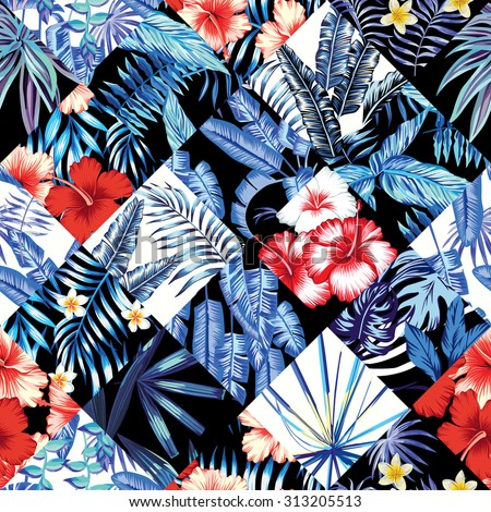 tropical floral patchwork