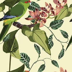 Tropical floral print. Parrot bird in the jungle with orchid flowers in the exotic forest, seamless pattern for fashion, wallpaoer and all prints on vintage yellow backdrop.