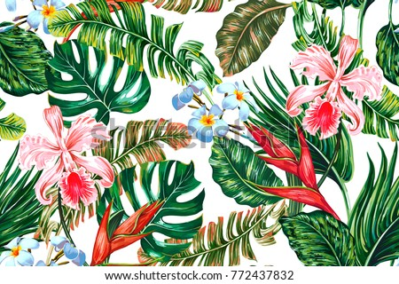 stock-vector-tropical-floral-seamless-vector-pattern-background-with-exotic-flowers-palm-leaves-jungle-leaf