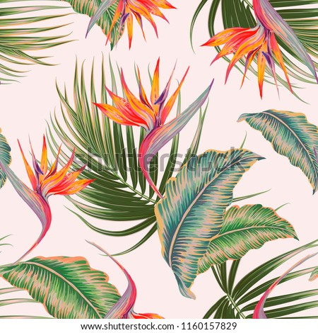 Tropical floral vector seamless pattern background with exotic flowers, palm leaves, jungle leaf, strelitzia, bird of paradise flower. Vintage botanical illustration wallpaper in Hawaiian style