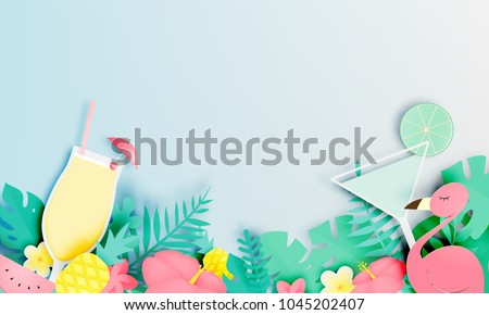 Tropical floral with flamingo and cocktail in paper art style and pastel color scheme background vector illustration