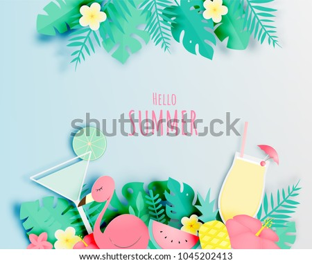 tropical floral with flamingo