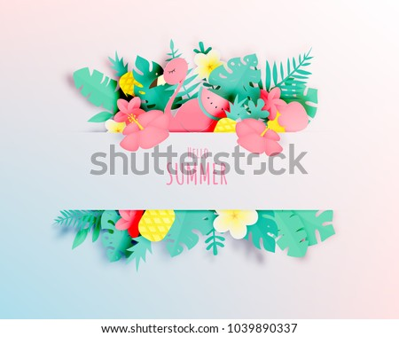 Tropical floral with flamingo in paper art style and pastel color scheme background vector illustration #1039890337