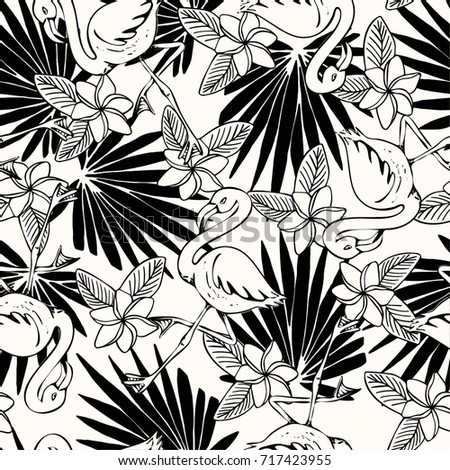 Tropical Flower And Flamingo Pattern In Black And White Print For T