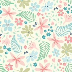 Tropical flower and leaf pattern design in pastel colours. Pretty vector tossed nature seamless repeat background.