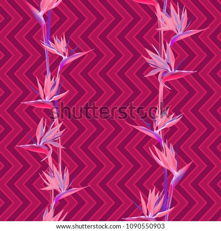 tropical flower bird of