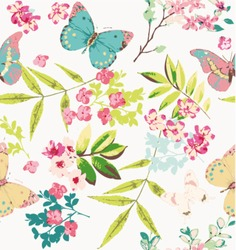 tropical  flower with butterfly pattern background