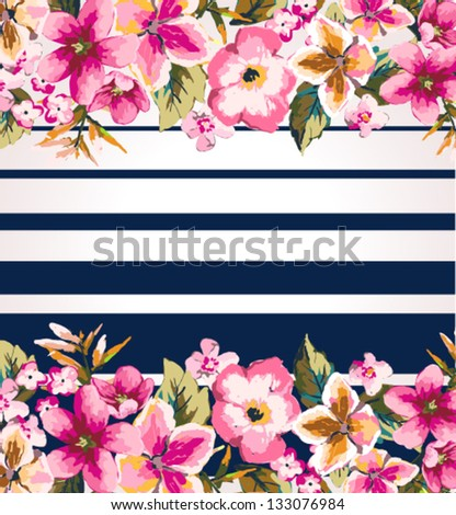 tropical flower with stripe mirror effect vector pattern background
