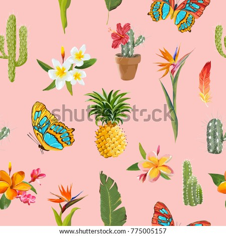 Tropical Flowers and Butterflies Background. Floral Seamless Pattern with Cactus and Pineapple. Vector illustration