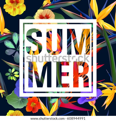 Tropical Flowers and Leaves Background. Summer Design. Vector. T-shirt Fashion Graphic. Exotic
