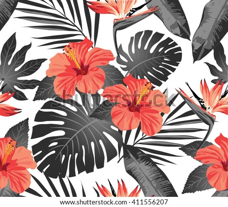 tropical flowers and leaves on