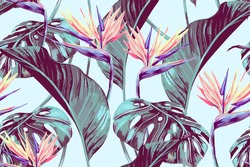 Tropical flowers, jungle leaves, bird of paradise flower. Beautiful seamless vector floral pattern background, exotic print