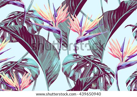 tropical flowers  jungle leaves