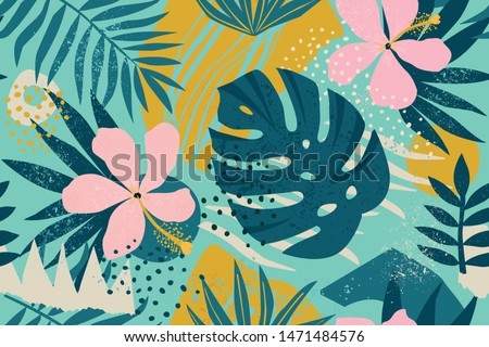 Tropical flowers Mid-Century Modern Art Future Abstract and artistic palm leaves on background. Seamless. Vector pattern.
