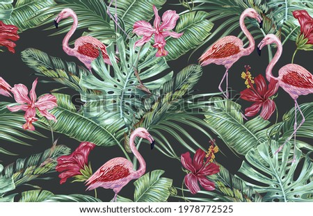 Tropical flowers, palm leaves, hibiscus, orchid flower, jungle foliage, pink flamingos floral vector seamless pattern, summer background. Vintage botanical illustration wallpaper. Exotic print