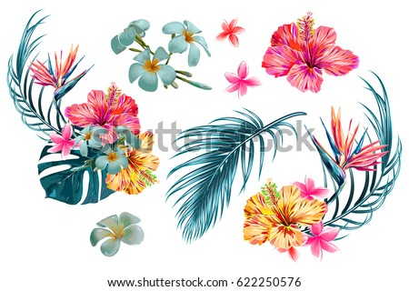 Tropical flowers, palm leaves, jungle leaf, bird of paradise flower, hibiscus. Vector exotic illustrations, floral elements isolated, Hawaiian bouquet for greeting card, wedding, wallpaper #622250576
