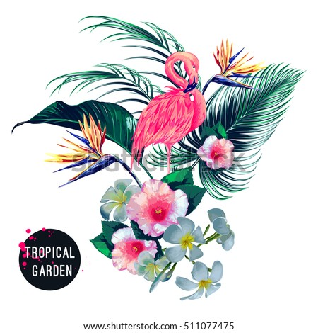 Tropical flowers, palm leaves, jungle plants, hibiscus, bird of paradise flower, pink flamingo, hawaiian bouquet. Beautiful floral exotic vector illustration isolated on white background