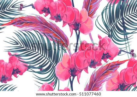 Tropical flowers, palm leaves, orchid flower, pink flamingos feathers, seamless vector floral pattern, bohemian background, boho style