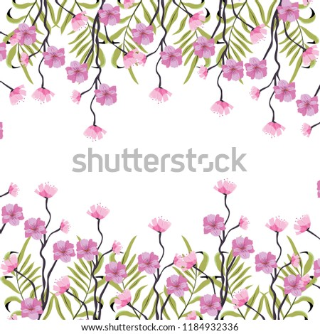 tropical flowers plant with branches background