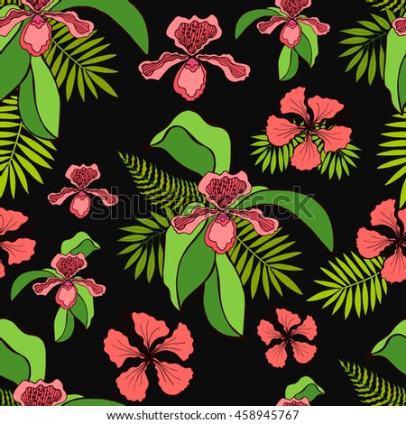 tropical flowers seamless