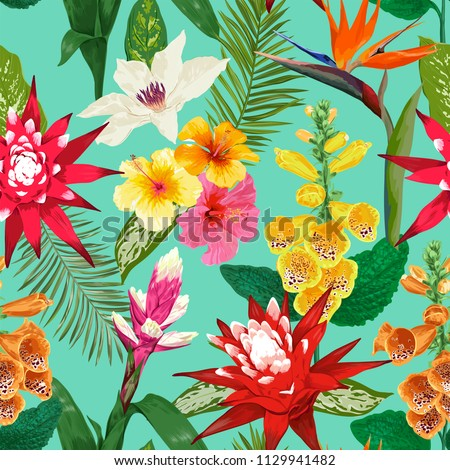 Tropical Flowers Seamless Pattern. Summer Floral Background with Tiger Lily Flower and Hibiskus. Watercolor Blooming Design for Wallpaper, Fabric. Vector illustration