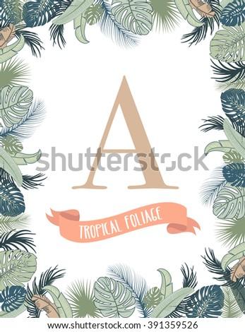 Tropical foliage frame template #391359526