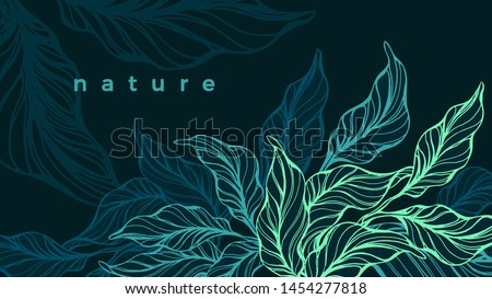 tropical foliage vector hand