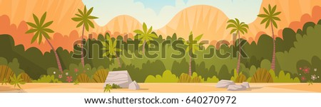Tropical Forest With Mountains Background Resort Summer Vacation Flat Vector Lllustration