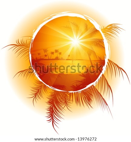 Tropical frame, sunset on the beach, vector illustration, EPS file included