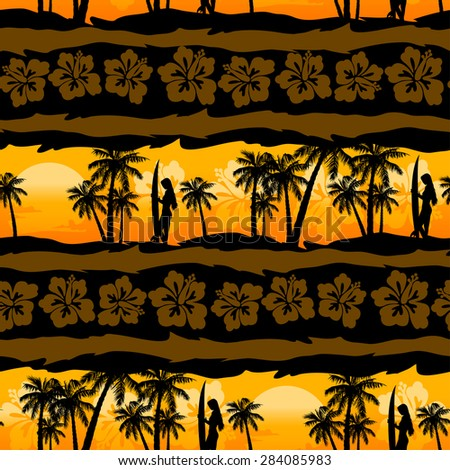 tropical frangipani with palms