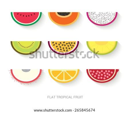 tropical fruit flat design