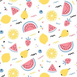 Tropical fruit mix seamless pattern design on white background