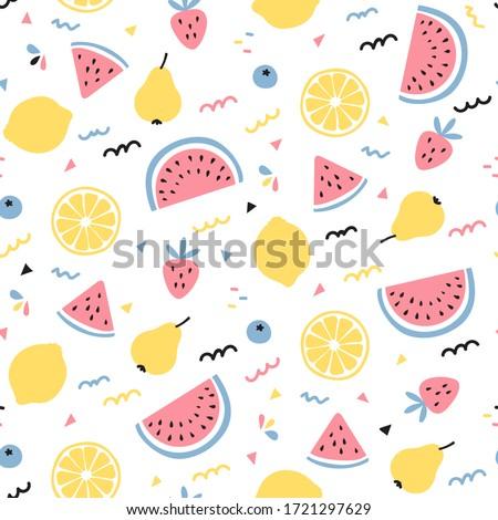 tropical fruit mix seamless