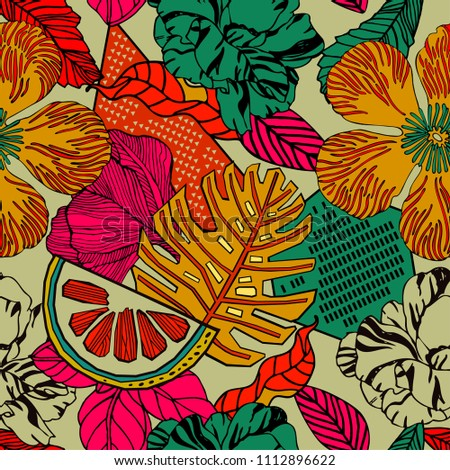 Tropical fruits and plants, seamless pattern.
