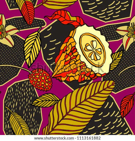 Tropical fruits and plants, seamless pattern design.